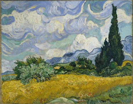 Van Gogh Wheat-Field-with-Cypresses-(1889)